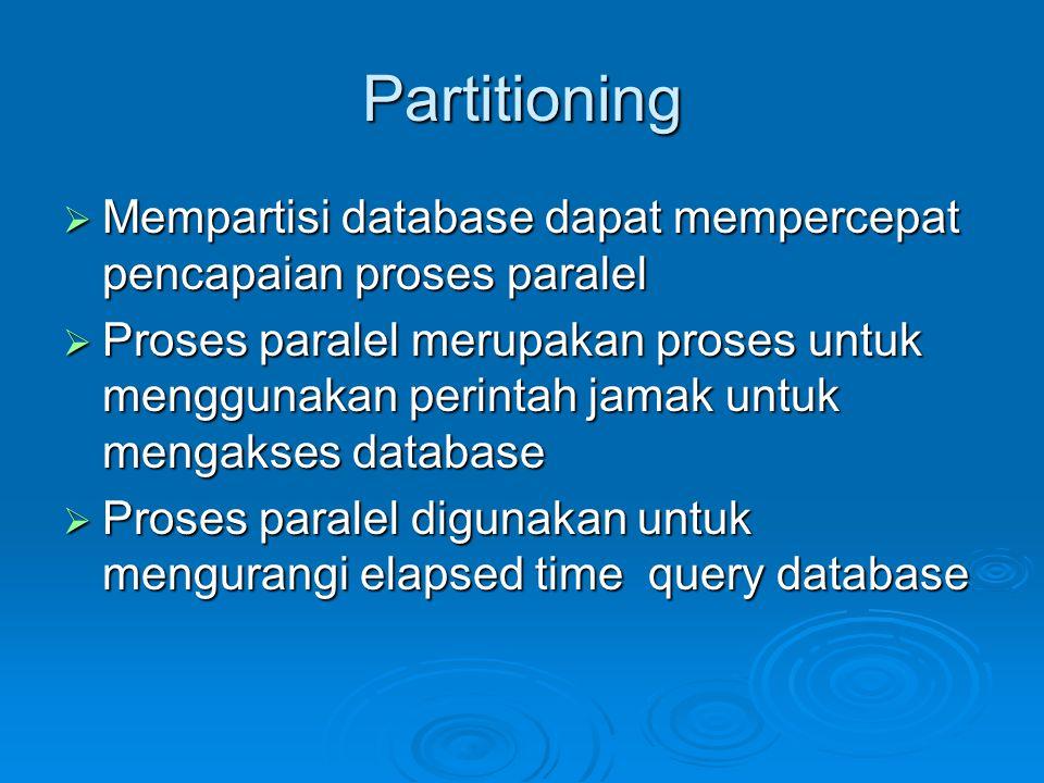 Partitioning Mempartisi database dapat mempercepat pencapaian proses paralel.