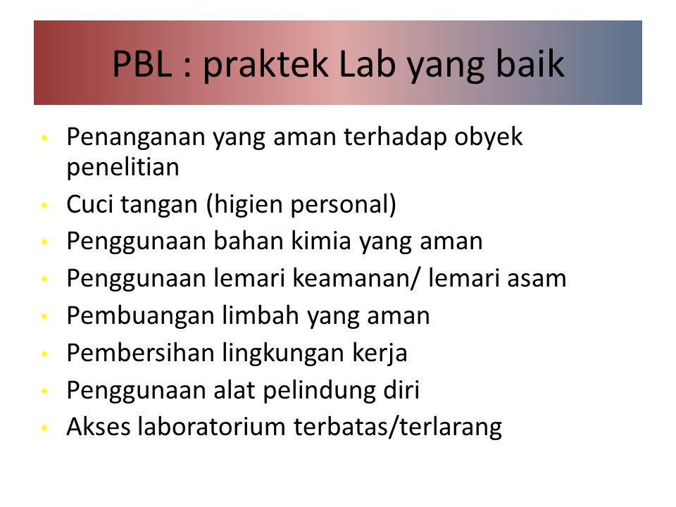 PBL : praktek Lab yang baik