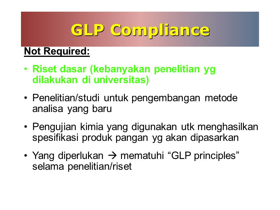 GLP Compliance Not Required: