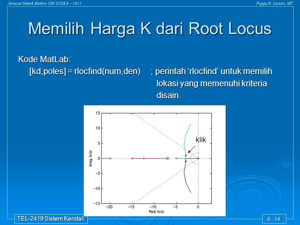 Memilih Harga K dari Root Locus