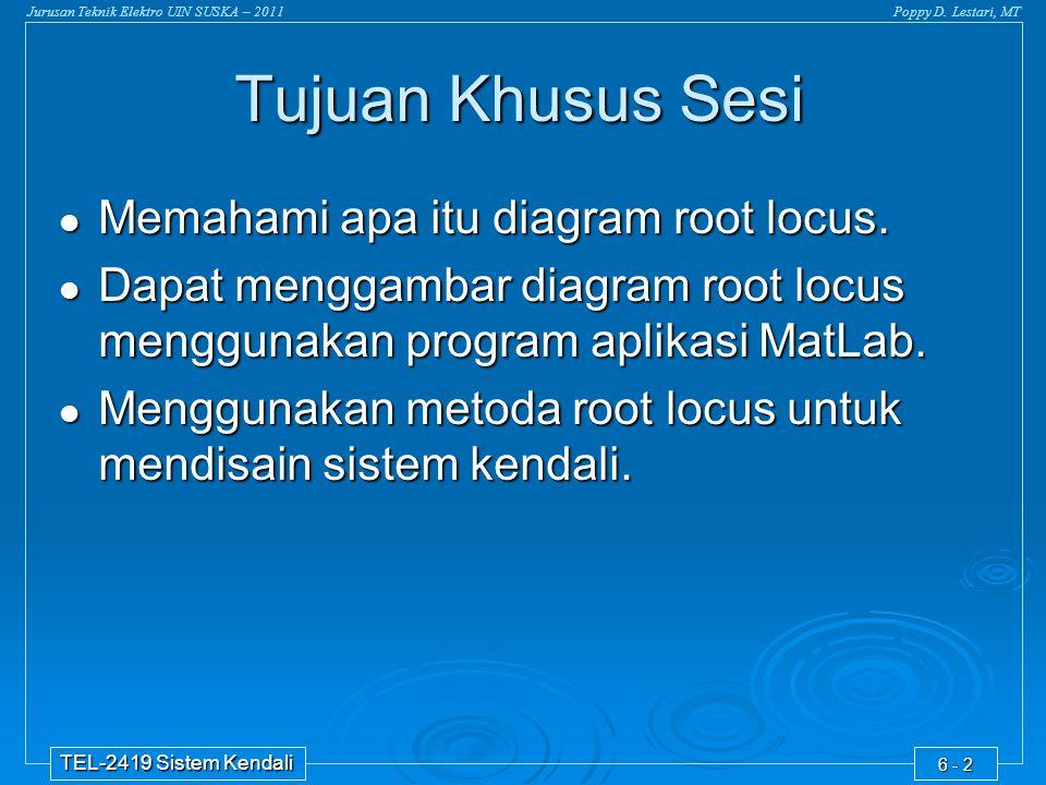 Tujuan Khusus Sesi Memahami apa itu diagram root locus.