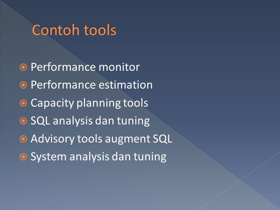 Contoh tools Performance monitor Performance estimation