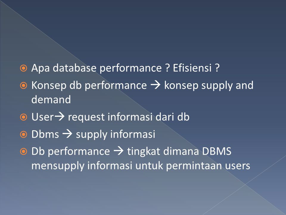 Apa database performance Efisiensi