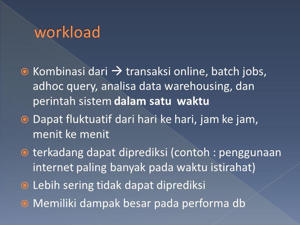 workload Kombinasi dari  transaksi online, batch jobs, adhoc query, analisa data warehousing, dan perintah sistem dalam satu waktu.