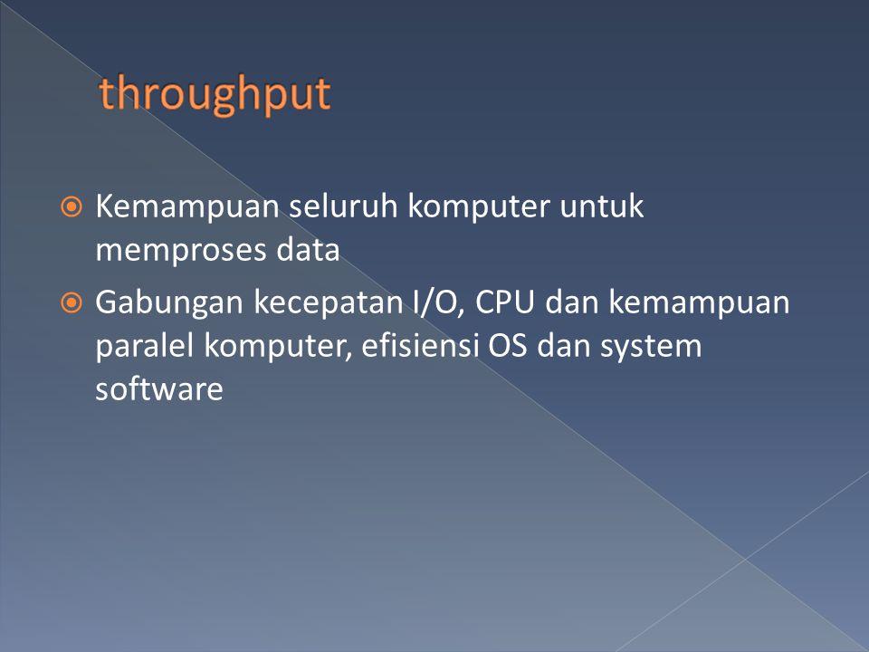 throughput Kemampuan seluruh komputer untuk memproses data