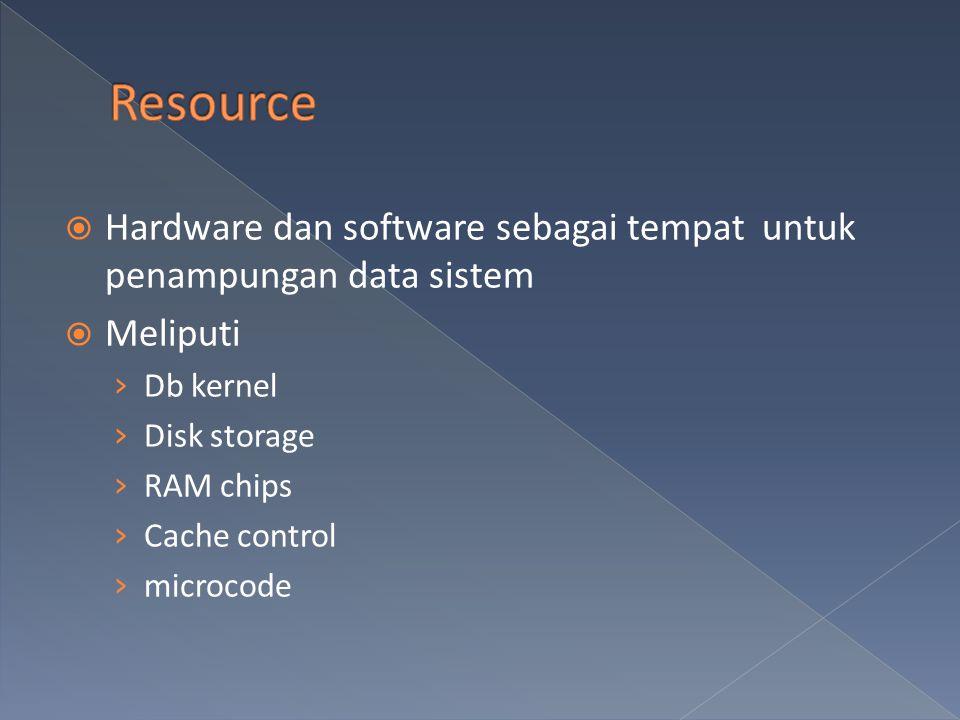 Resource Hardware dan software sebagai tempat untuk penampungan data sistem. Meliputi. Db kernel.