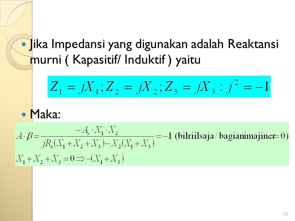 Jika Impedansi yang digunakan adalah Reaktansi murni ( Kapasitif/ Induktif ) yaitu