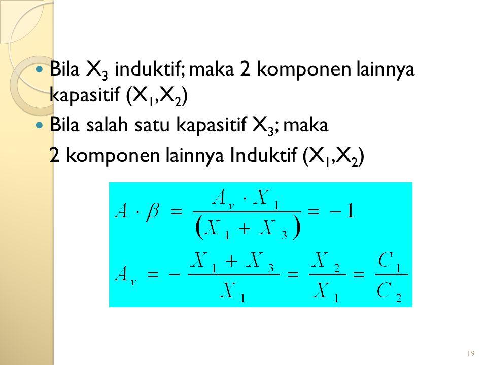 Bila X3 induktif; maka 2 komponen lainnya kapasitif (X1,X2)