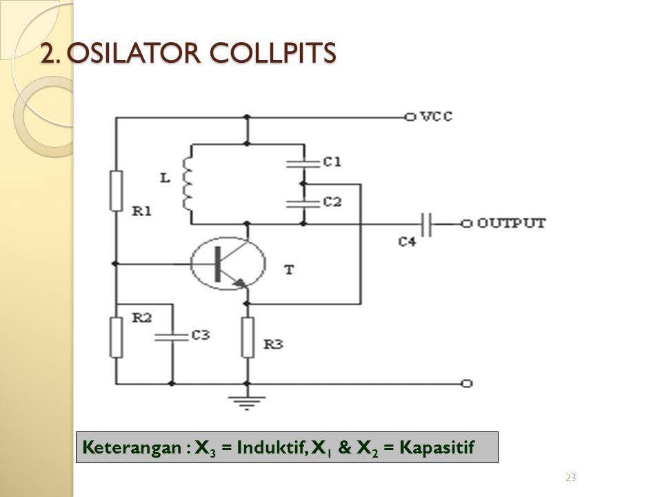 2. OSILATOR COLLPITS Keterangan : X3 = Induktif, X1 & X2 = Kapasitif