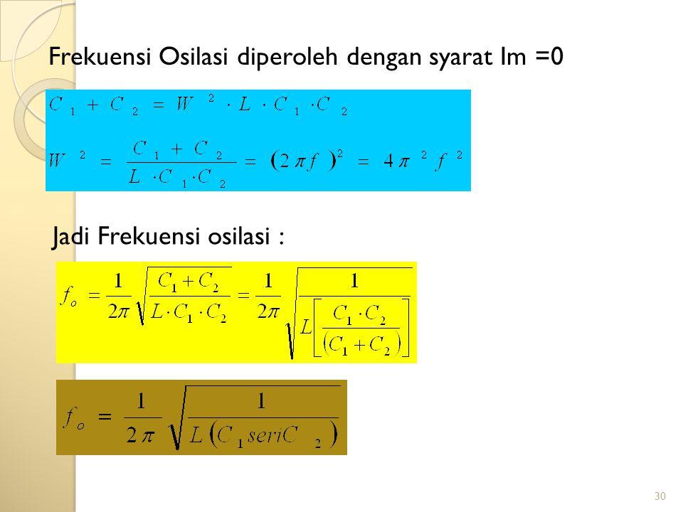 Frekuensi Osilasi diperoleh dengan syarat Im =0