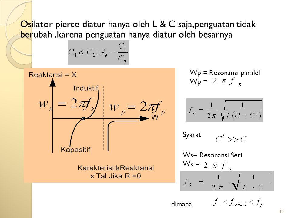 Osilator pierce diatur hanya oleh L & C saja,penguatan tidak berubah ,karena penguatan hanya diatur oleh besarnya