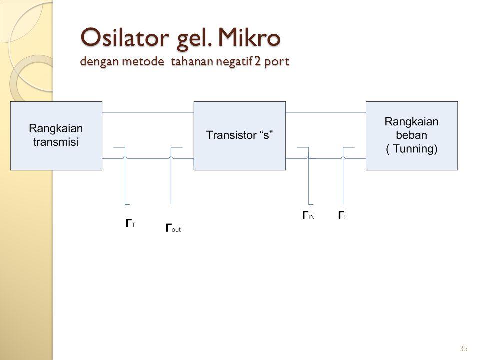 Osilator gel. Mikro dengan metode tahanan negatif 2 port