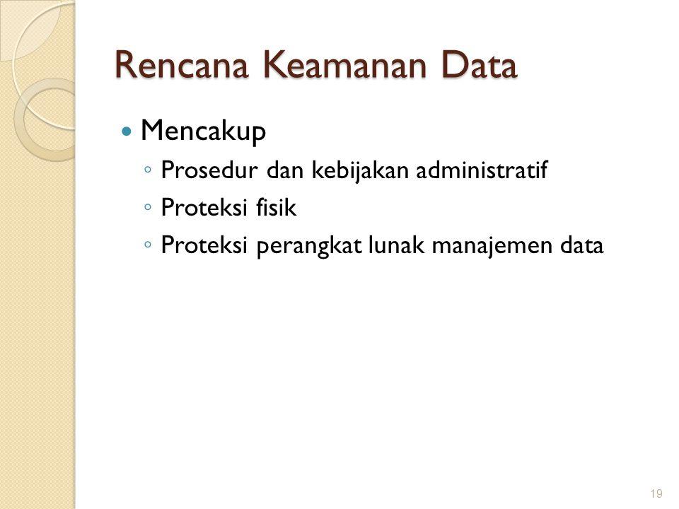 Rencana Keamanan Data Mencakup Prosedur dan kebijakan administratif