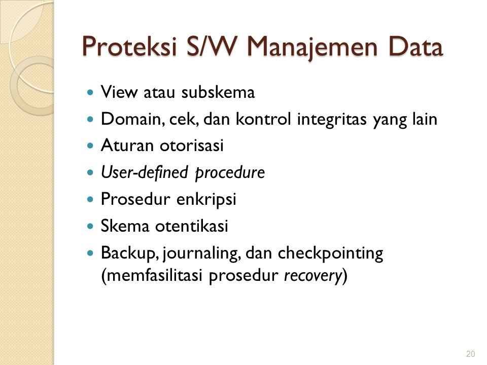 Proteksi S/W Manajemen Data