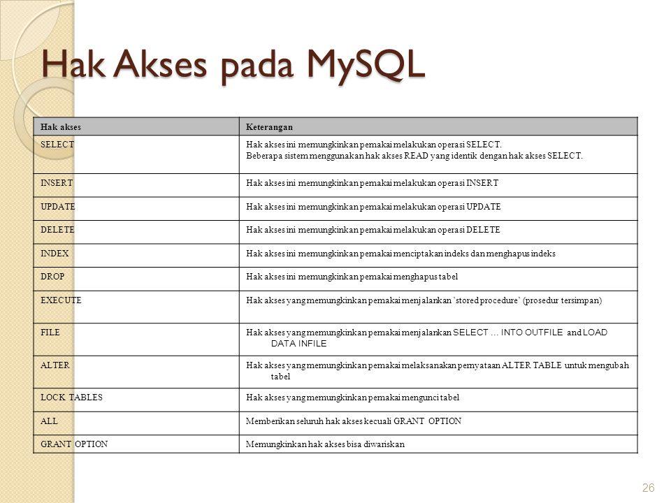 Hak Akses pada MySQL Hak akses Keterangan SELECT