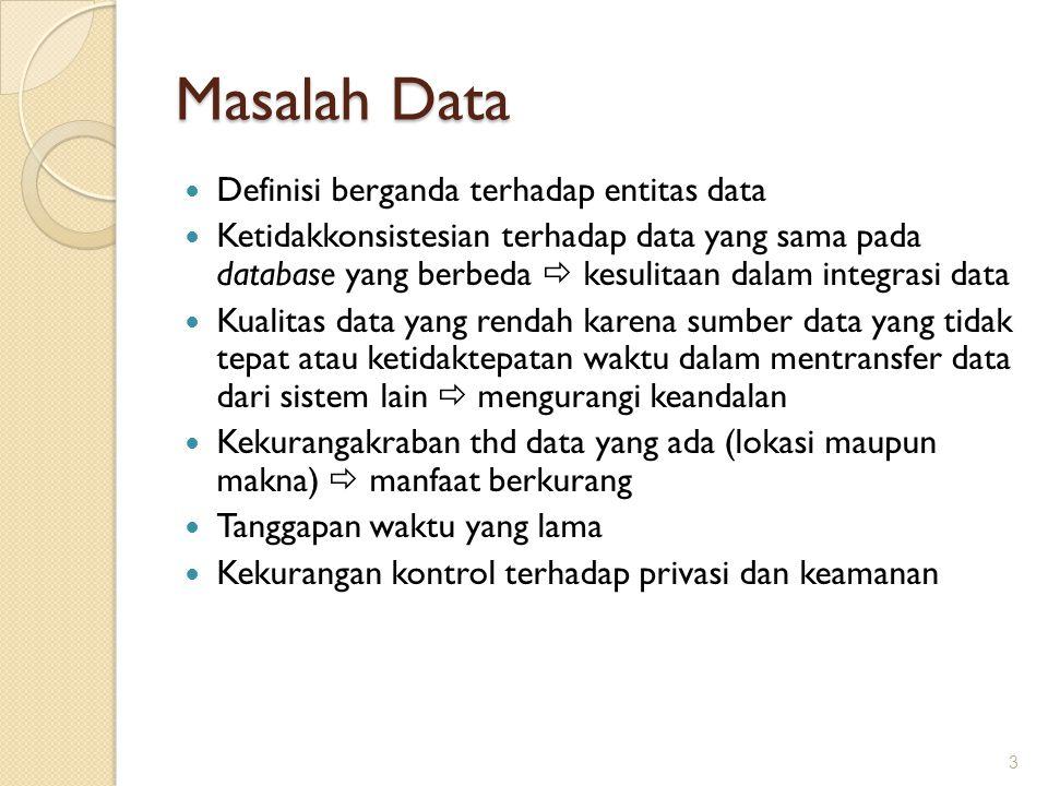 Masalah Data Definisi berganda terhadap entitas data