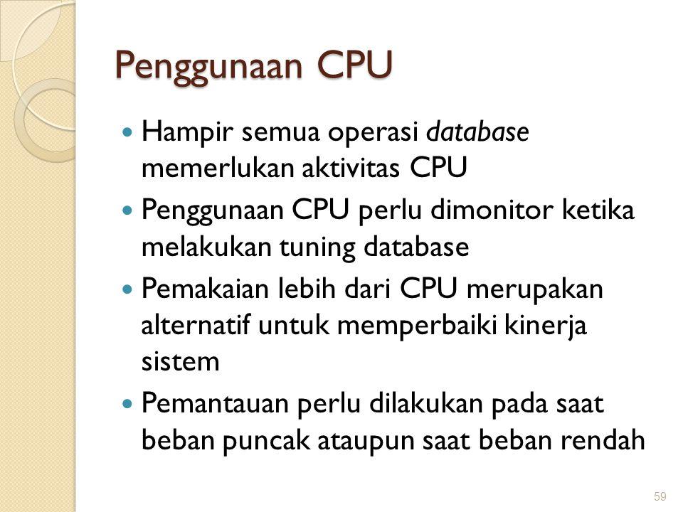 Penggunaan CPU Hampir semua operasi database memerlukan aktivitas CPU