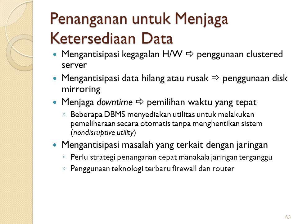Penanganan untuk Menjaga Ketersediaan Data