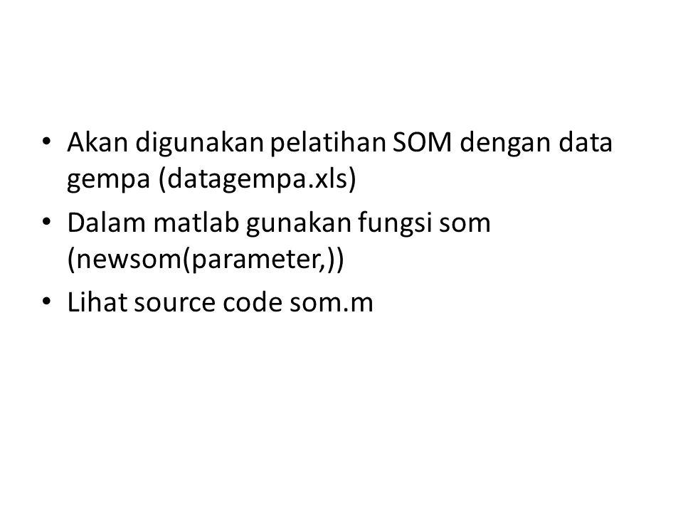 Akan digunakan pelatihan SOM dengan data gempa (datagempa.xls)