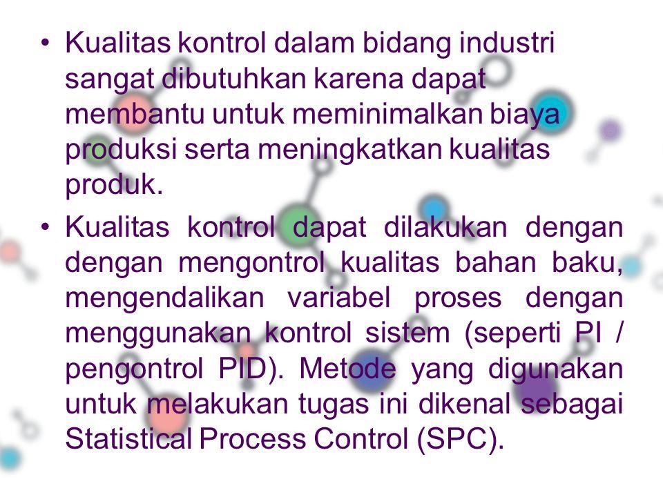 Kualitas kontrol dalam bidang industri sangat dibutuhkan karena dapat membantu untuk meminimalkan biaya produksi serta meningkatkan kualitas produk.