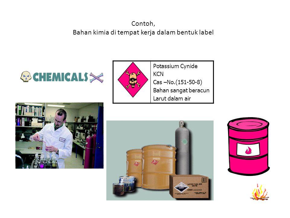 Contoh, Bahan kimia di tempat kerja dalam bentuk label