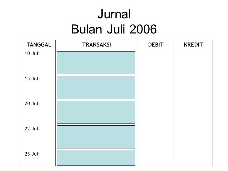 Jurnal Bulan Juli 2006 TANGGAL TRANSAKSI DEBIT KREDIT 10 Juli Kas