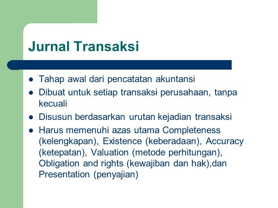 Jurnal Transaksi Tahap awal dari pencatatan akuntansi