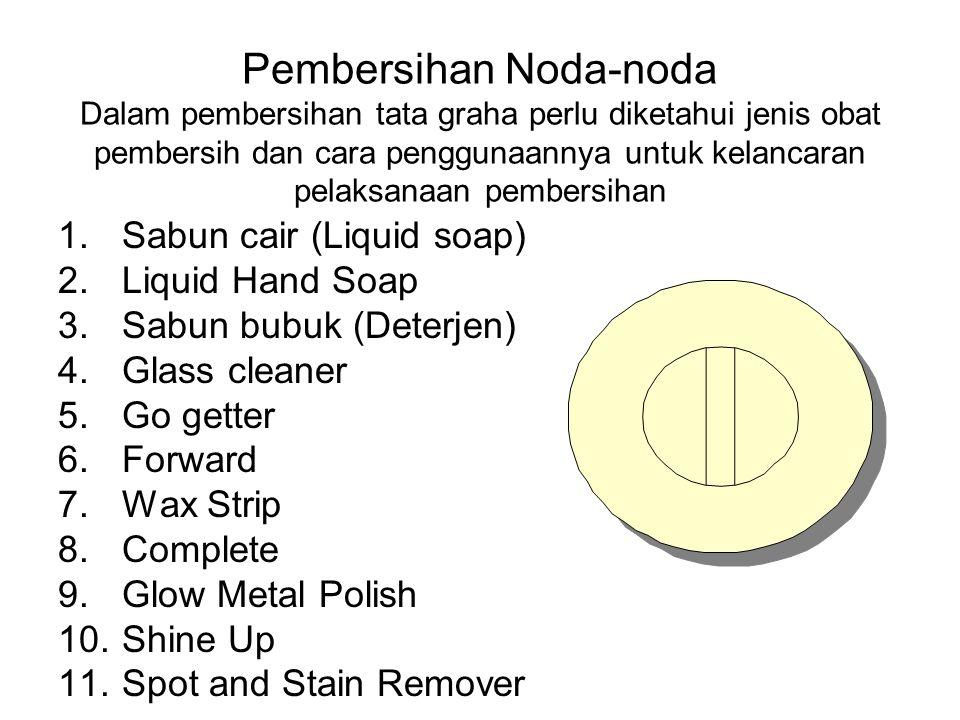 Pembersihan Noda-noda Dalam pembersihan tata graha perlu diketahui jenis obat pembersih dan cara penggunaannya untuk kelancaran pelaksanaan pembersihan