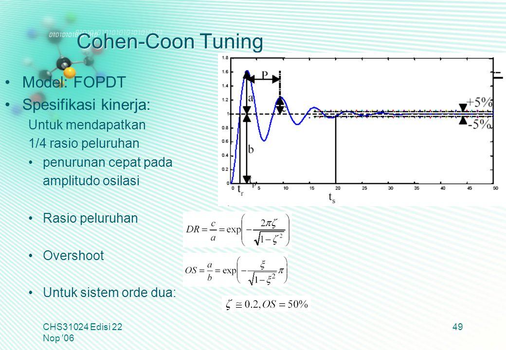 Cohen-Coon Tuning Model: FOPDT Spesifikasi kinerja: Untuk mendapatkan