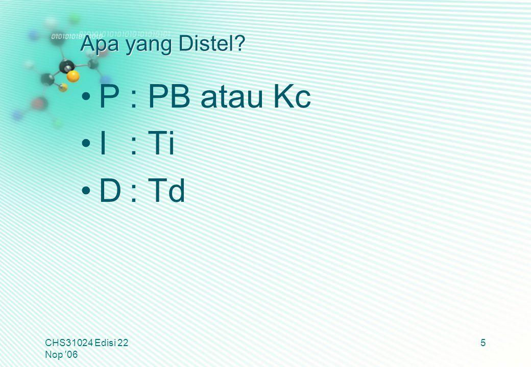 P : PB atau Kc I : Ti D : Td Apa yang Distel