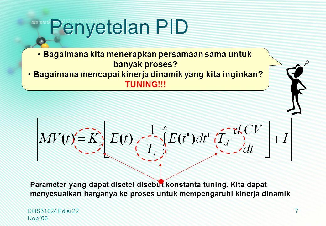 Penyetelan PID Bagaimana kita menerapkan persamaan sama untuk
