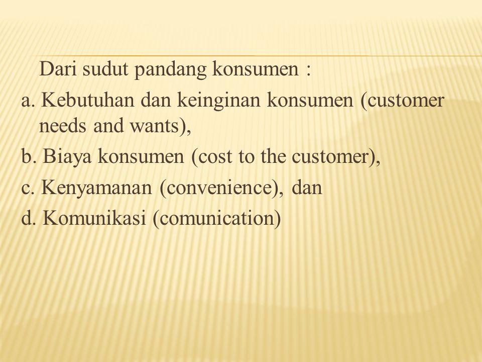 Dari sudut pandang konsumen : a