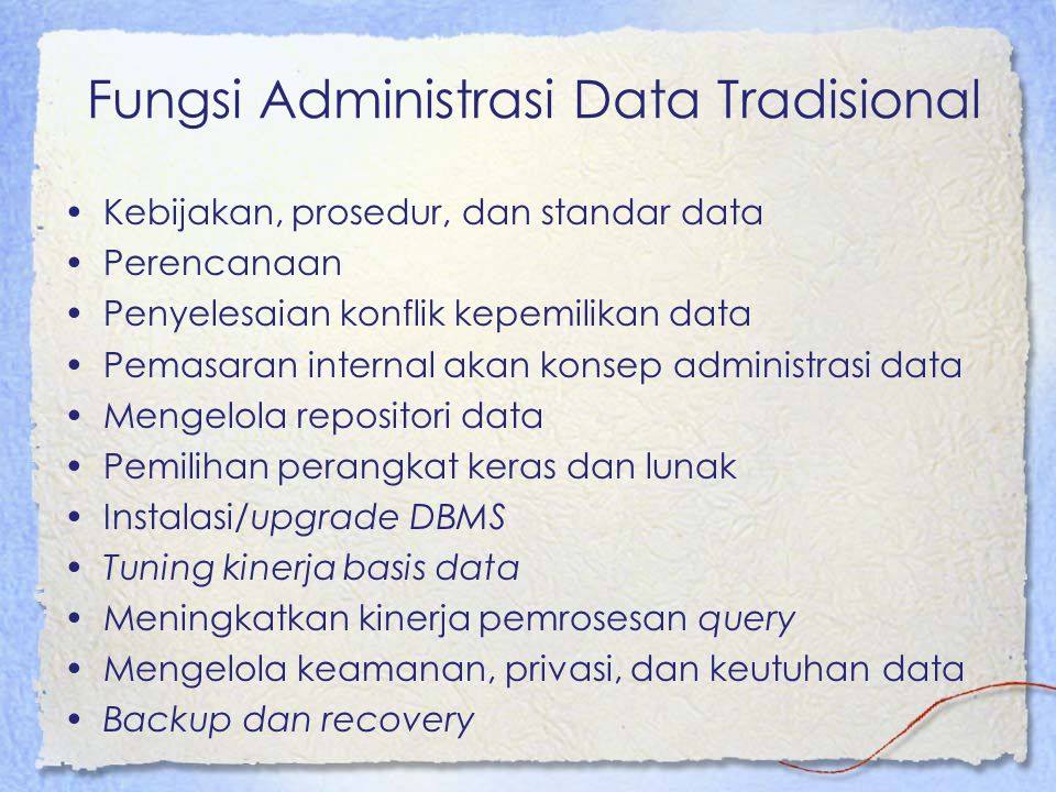 Fungsi Administrasi Data Tradisional
