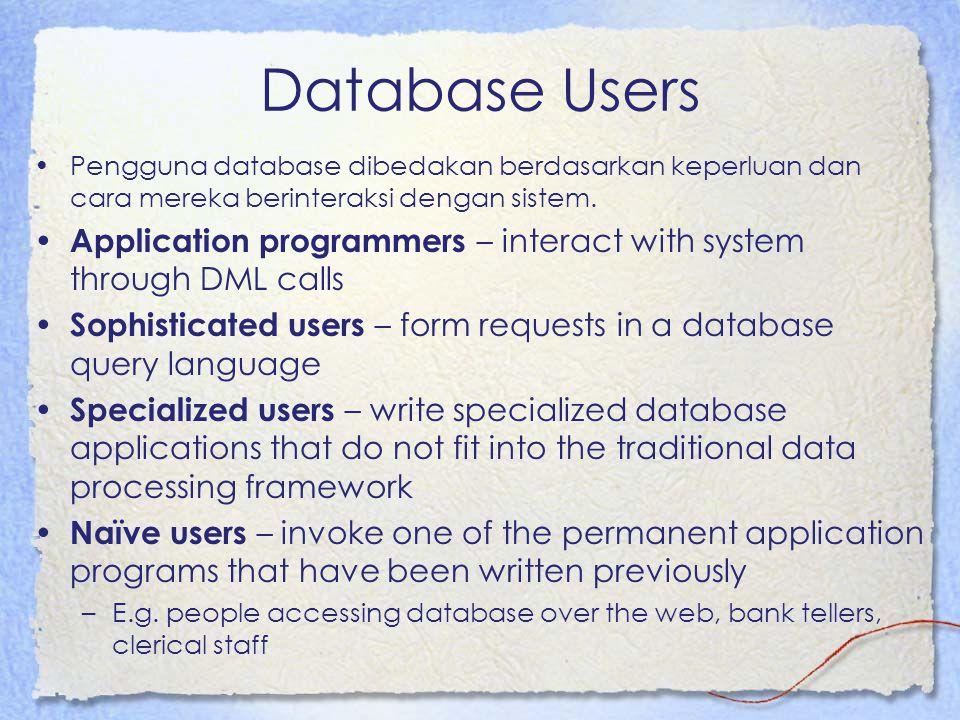 Database Users Pengguna database dibedakan berdasarkan keperluan dan cara mereka berinteraksi dengan sistem.