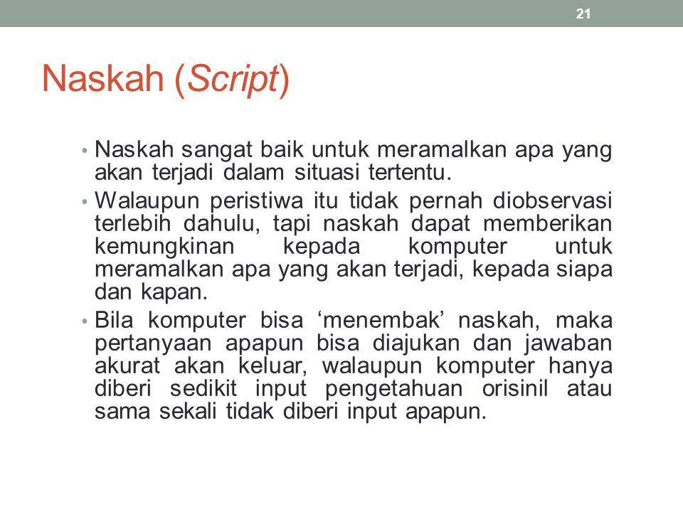 Naskah (Script) Naskah sangat baik untuk meramalkan apa yang akan terjadi dalam situasi tertentu.