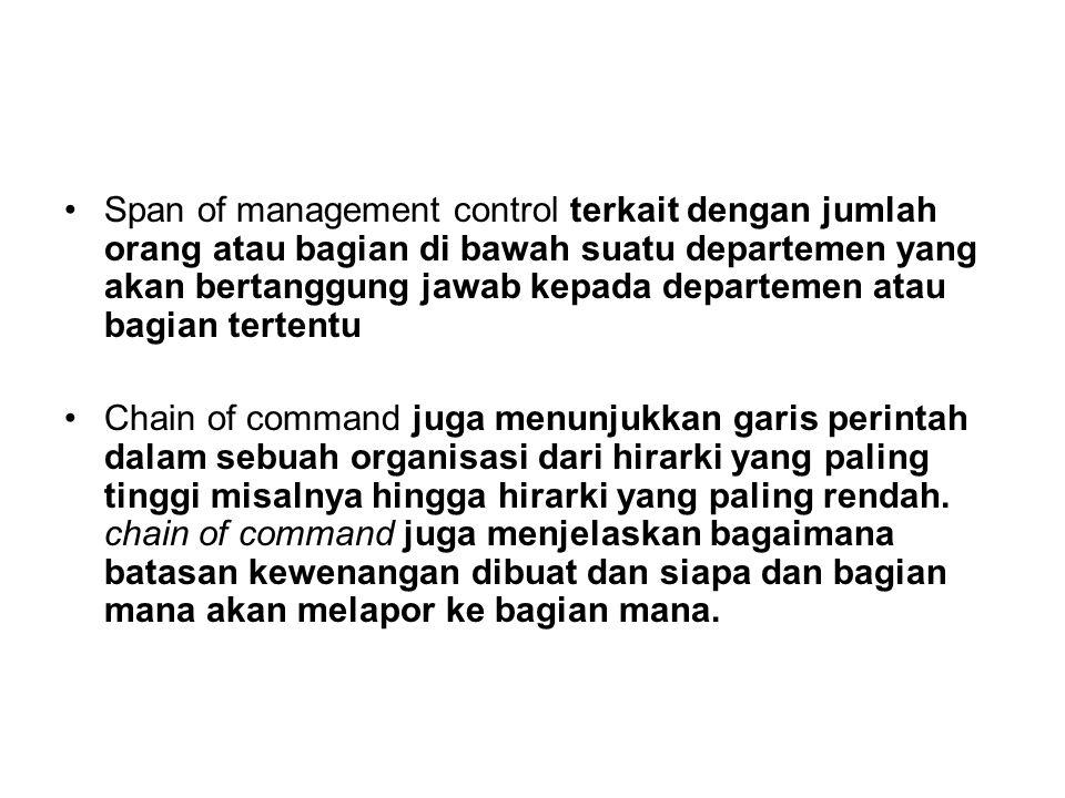 Span of management control terkait dengan jumlah orang atau bagian di bawah suatu departemen yang akan bertanggung jawab kepada departemen atau bagian tertentu