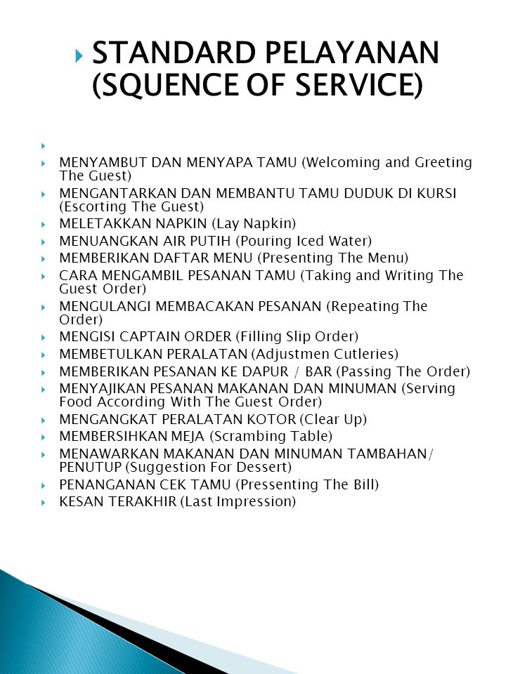 STANDARD PELAYANAN (SQUENCE OF SERVICE)
