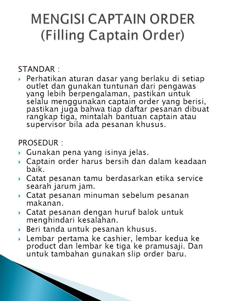 MENGISI CAPTAIN ORDER (Filling Captain Order)