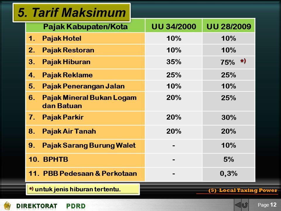 5. Tarif Maksimum Pajak Kabupaten/Kota UU 34/2000 UU 28/2009