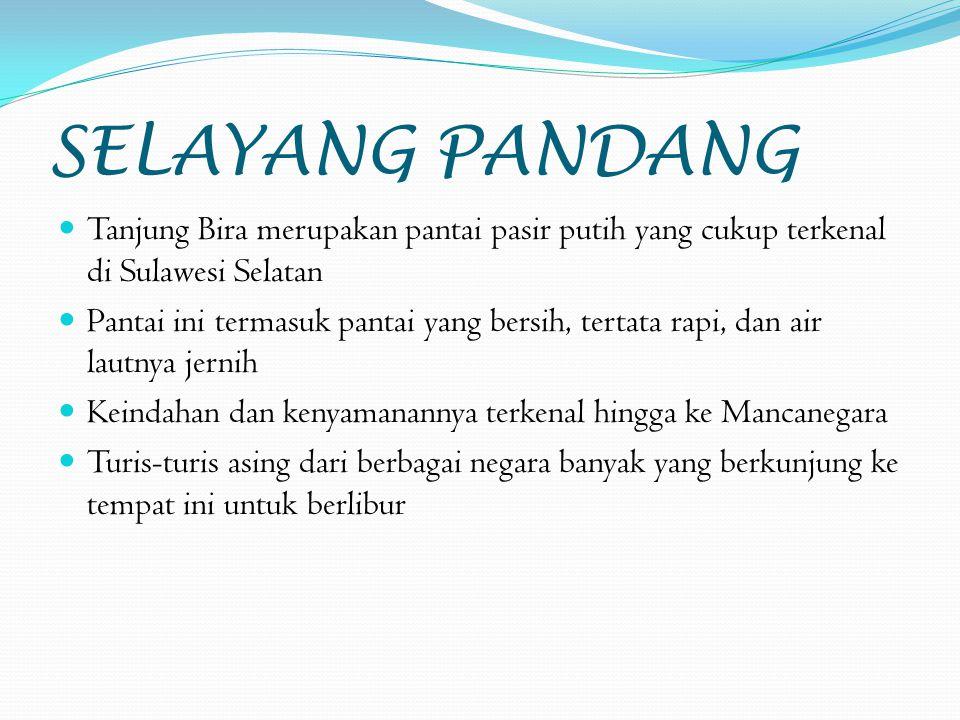 SELAYANG PANDANG Tanjung Bira merupakan pantai pasir putih yang cukup terkenal di Sulawesi Selatan.