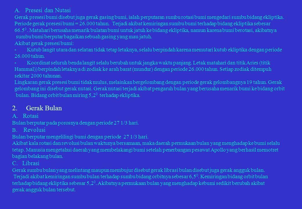 2. Gerak Bulan A. Presesi dan Nutasi A. Rotasi C. Librasi