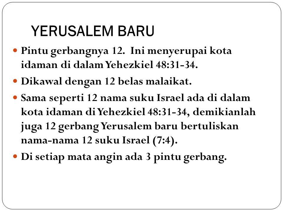YERUSALEM BARU Pintu gerbangnya 12. Ini menyerupai kota idaman di dalam Yehezkiel 48:31-34. Dikawal dengan 12 belas malaikat.