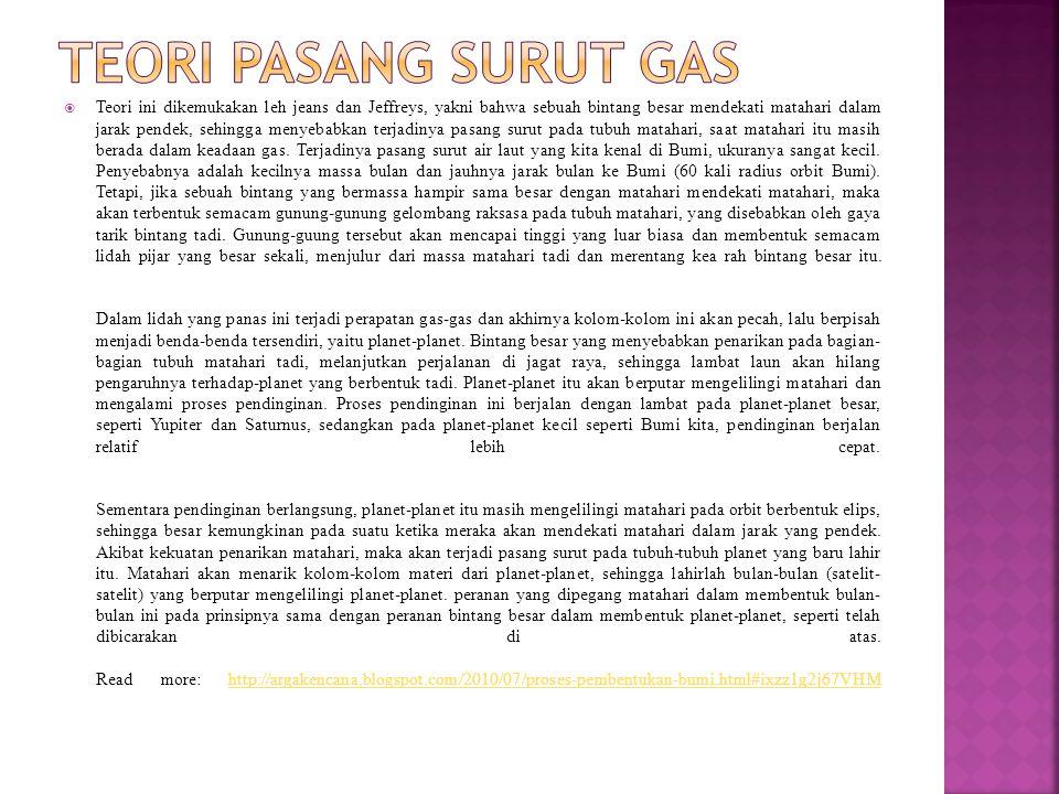Teori Pasang Surut Gas