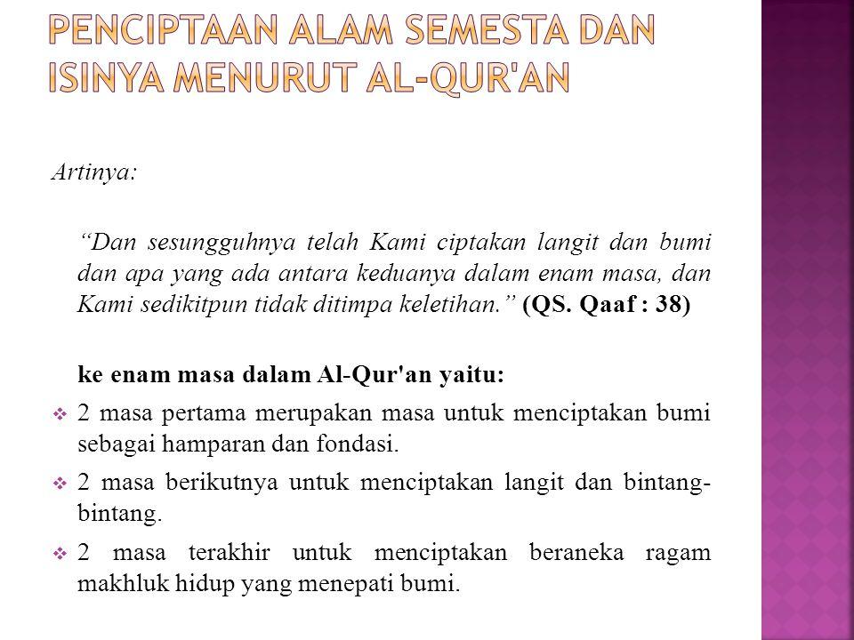 Penciptaan alam semesta dan isinya menurut Al-Qur an