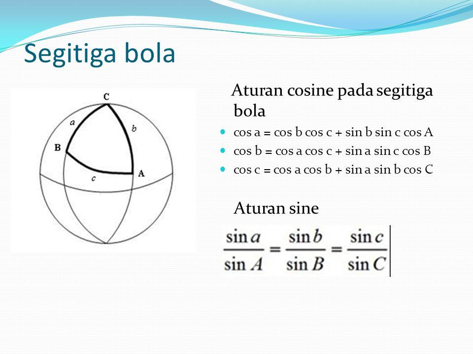 Segitiga bola Aturan cosine pada segitiga bola Aturan sine