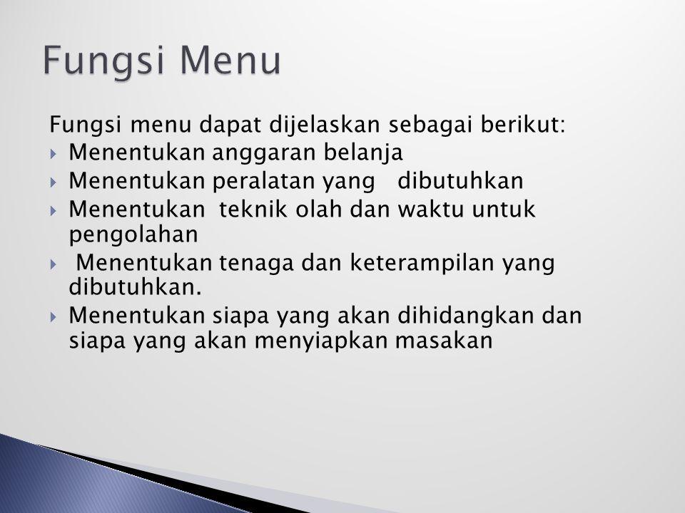 Fungsi Menu Fungsi menu dapat dijelaskan sebagai berikut: