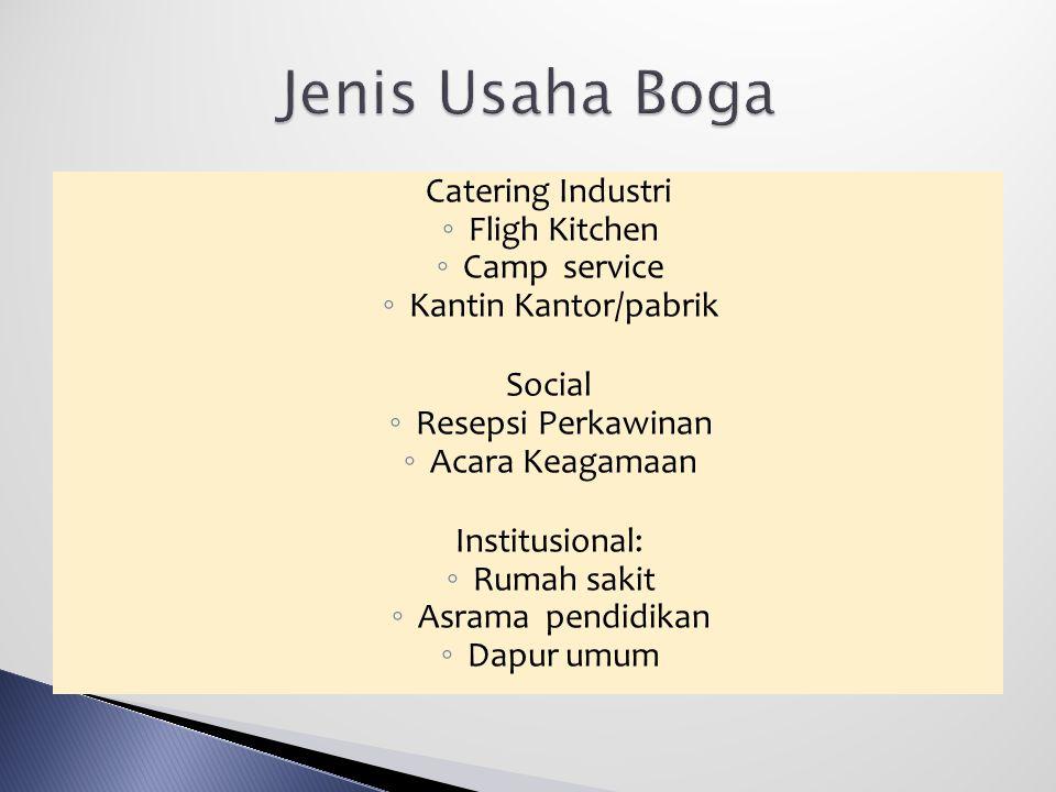 Jenis Usaha Boga Fligh Kitchen Camp service Kantin Kantor/pabrik