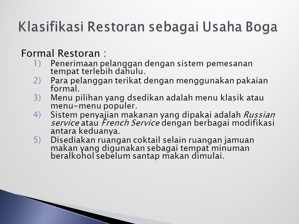 Klasifikasi Restoran sebagai Usaha Boga