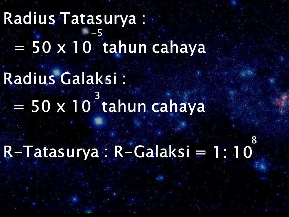 R-Tatasurya : R-Galaksi = 1: 10