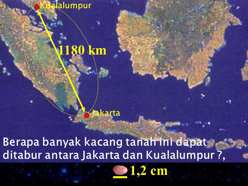 Kualalumpur 1180 km. Jakarta. Berapa banyak kacang tanah ini dapat ditabur antara Jakarta dan Kualalumpur ,